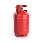 red propane cylinder with compressed gas 3d illustration