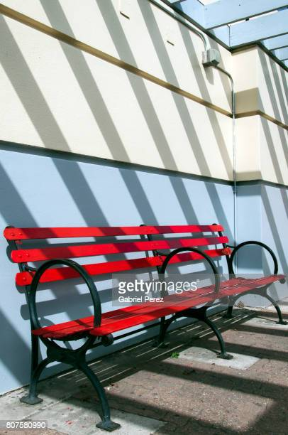 A Red Public Bench