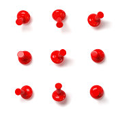 Set of red push pins with different angles isolated