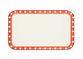blank marque red frame with light bulbs isolated on white background