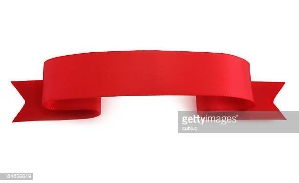 Red Ribbon banner template on white background