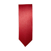 Red ribbon bookmark on white background with clipping path.