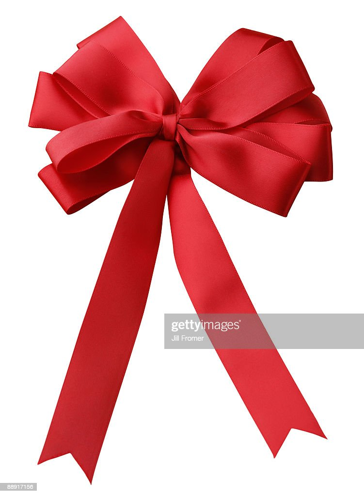 Red Ribbon Bow Isolated on White Background : Stock Photo