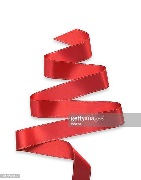 Red ribbon in a swirl on a white background