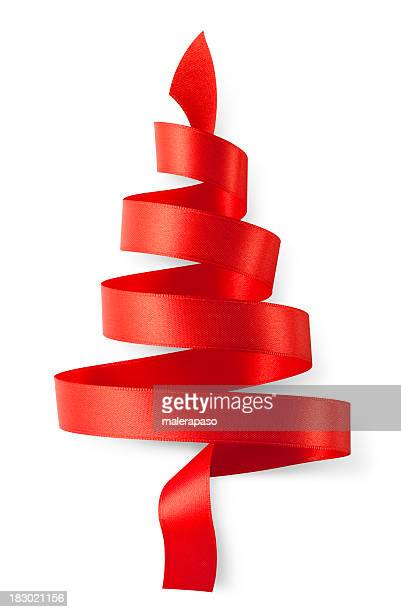 Rotes Band in the form of a Christmas tree