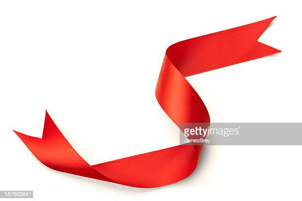 Red Ribbon With Graceful Curl Isolated on White Background