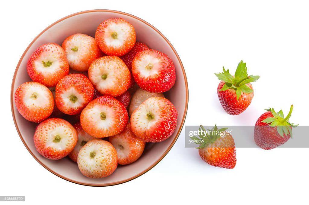 Red ripe strawberries in a bowl : Stock Photo
