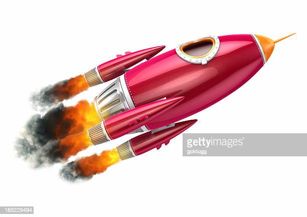 Red rocket flying on white background