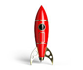 Rocket red antique style 60 years  on white background