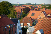 Typical tile roofs in middle size Danish city. Brick build houses with small gardens and tiled roofs