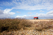 Iconic Red Roofed Hut on the Shingle Beach at Rye Harbour Nature Reserve. Wide Angle from a Low Perspective with scrub bushes to the fore.