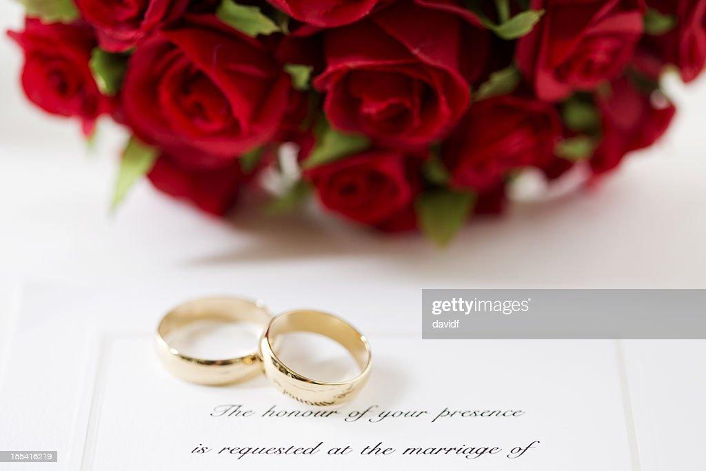 Red Rose Wedding Invitation : Stock Photo