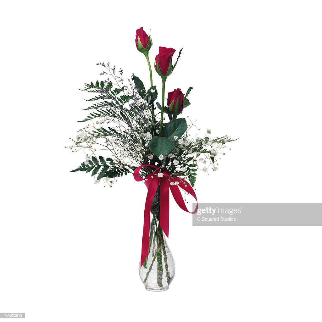 Red Rose with Red Ribbon in a Glass Vase : Stock Photo