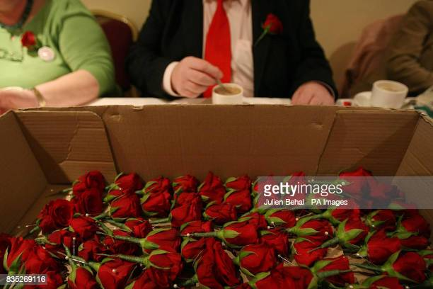 Red roses lie in a box at the Mullingar Park Hotel Mullingar CoWestmeath during the Labour Party Conference 2009