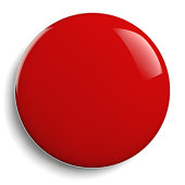 Red Button Round Icon Isolated on White Background