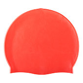 red rubber swimming cap, head and hair protection, on a white background