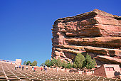 Red sandstone formations, Red Rocks Amphitheatre, Morrison, CO