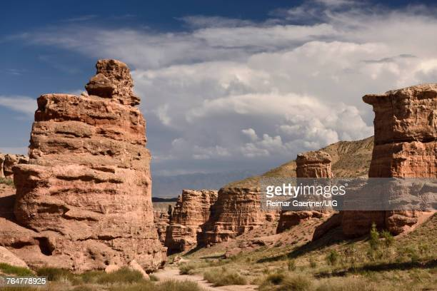 Red Sandstone in dry zone of Charyn Canyon called Valley of Castles Kazakhstan