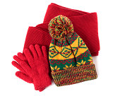 """Winter hat, scarf and gloves against a white background.  You might also like the red winter scarf shown below:"""