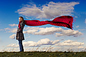 Red scarf at the blue skies