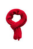 Red knitted scarf on white background