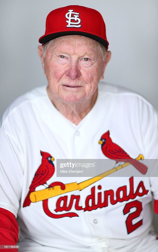 Red Schoendienst #2 of the St. Louis Cardinals poses during photo day at Roger Dean Stadium on February 19, 2013 in Jupiter, Florida.
