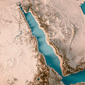 3D Render of a Topographic Map of the Red Sea, North Africa, Middle East. All source data is in the public domain. Color texture and Rivers: Made with Natural Earth.  http://www.naturalearthdata.com/d