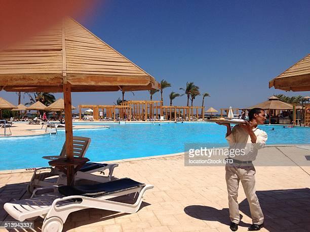 Red sea waiter Hurghada resort Egypt July 2014