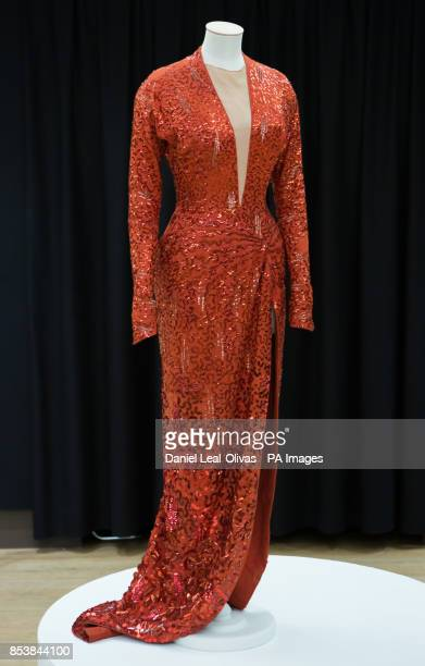 A red sequin gown worn by Marilyn Monroe in Gentlemen Prefer Blondes is part of the Famous and Infamous exhibition which includes highlights from the...