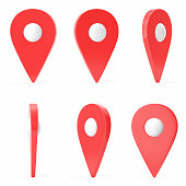 Red set map pointer isolated on white background. Ralistic map pointer, GPS location symbol, three-dimensional icons. 3D rendering
