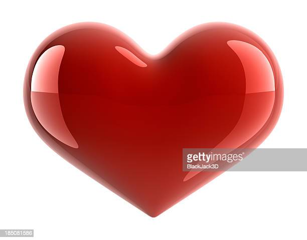 A red shiny heart on a white background