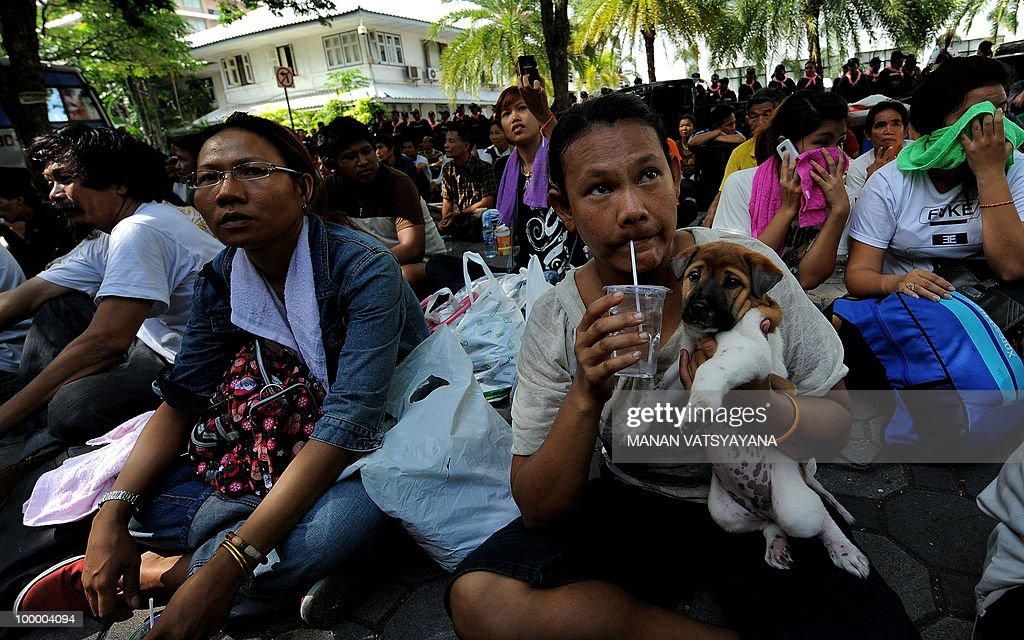 A Red Shirt anti-government protester holds her dog at the Police headquarters in downtown Bangkok on May 20, 2010 after bieng moved from a temple which had been turned into a shelter within the protest site. Thai police escorted thousands of protesters out of a Buddhist temple where they had cowered overnight after nine people were killed there in gunbattles.