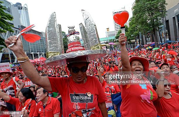 'Red Shirt' supporters shout slogans as they gather to mark the third anniversary of the military crackdown on antigovernment protesters in Bangkok...