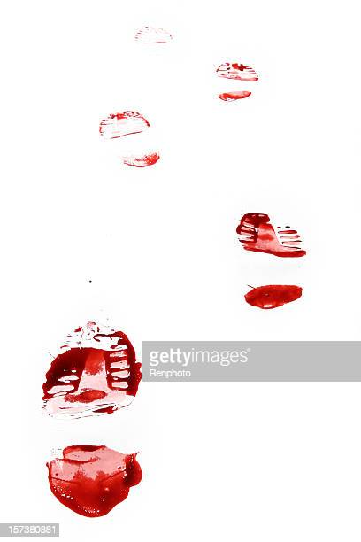 Red Shoe Print on White Background