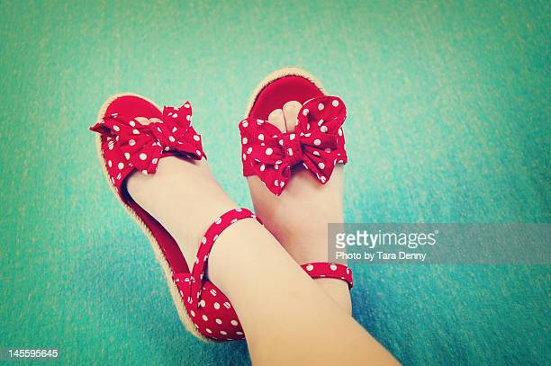 Red shoes on blue