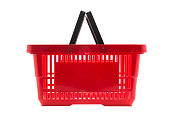 Red shopping basket isolated on white background , ,clipping path