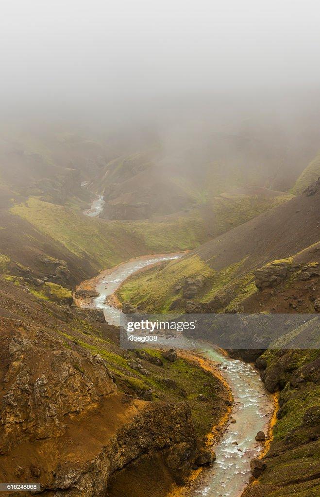 Red Shore River Kerlingarfjoll Iceland : Stock Photo