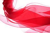 Red silk on white background