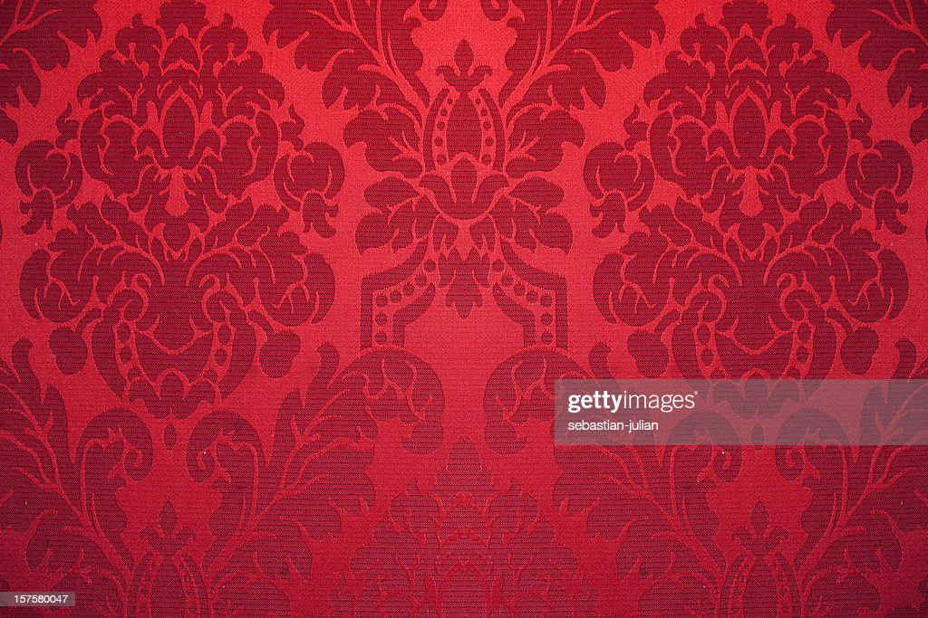 red silk wallpaper with ornaments : Stock Photo
