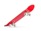 Red skateboard deck on white background. File contains a path to isolation.