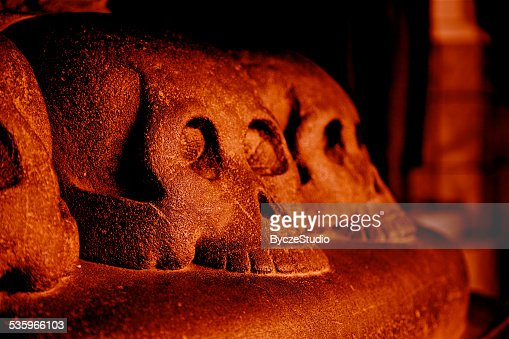 Red Skull Hell Death Fear Danger Evil Curse Spooky Archeology : Stock Photo