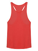 Red sleeveless tee-shirt with copy space isolated on white