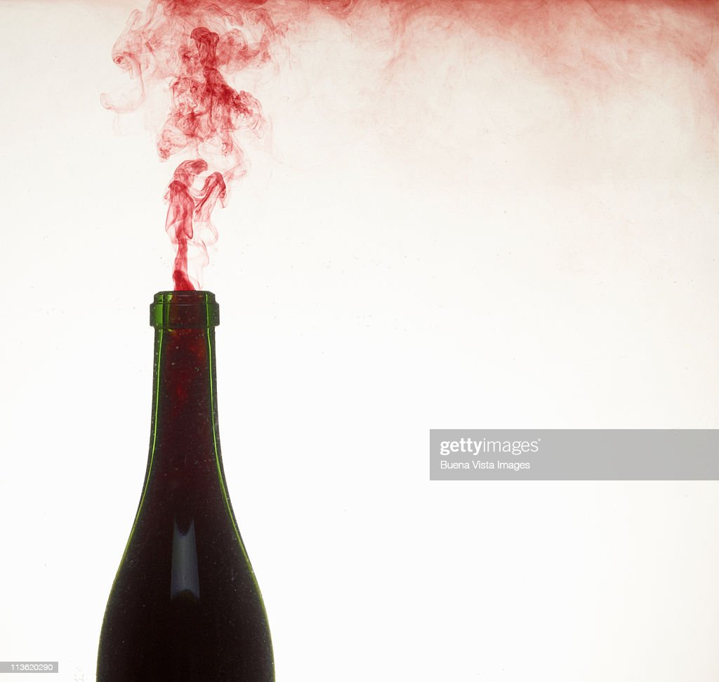 Red smoke from a bottle