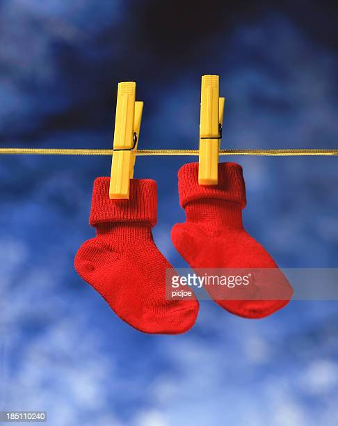 red socks hanging to dry