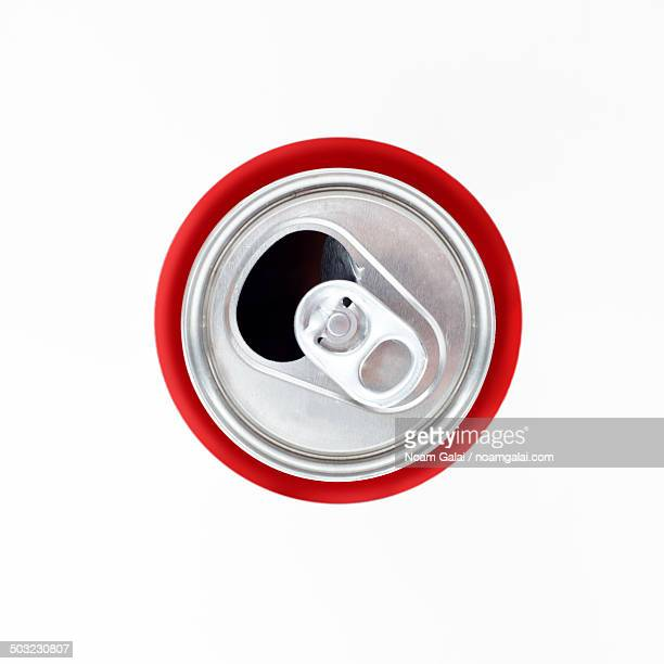Red soda can from above