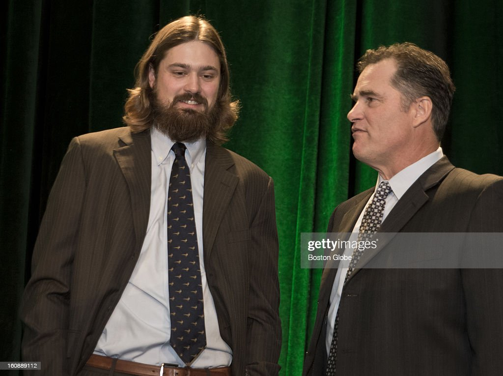 Red Sox Andrew Miller talks to his new manager, John Farrell, before the Boston Baseball Writers Association Dinner at the Westin Copley Place on Thursday, Jan. 24, 2013.