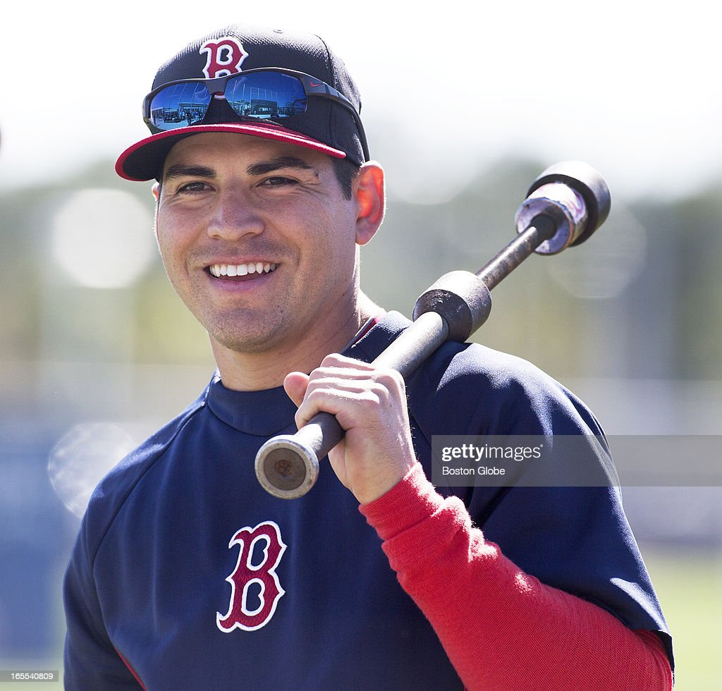 Red Sox center fielder Jacoby Ellsbury during spring training at JetBue Park. He remembers his first at-bat, a dribbler in front of the plate in 2007.
