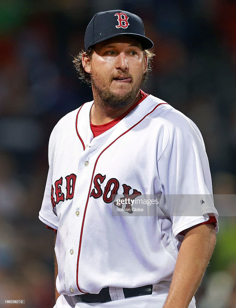 Red Sox closer Joel Hanrahan is pictured as he heads for the dugout after giving up five runs in the top of the ninth that gave Baltimore an 8-5 victory. The Boston Red Sox hosted the Baltimore Orioles in a regular season MLB game at Fenway Park.