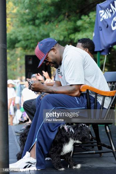 Red Sox' David 'Big Papi' Ortiz attends the official Wellesley start for the 33rd annual PanMassachusetts Challenge at Babson College on August 4...