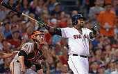 Red Sox designated hitter David Ortiz and Giants catcher Buster Posey watch the flight of Ortiz's bottom of the fourth inning three run home run off...